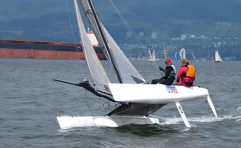 Fly a hull in English Bay on one of our fast catamarans