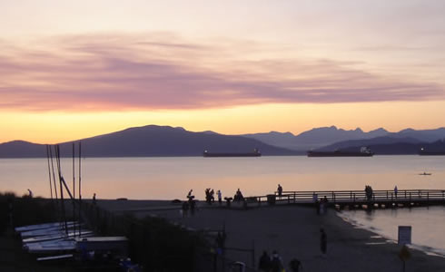 Viking Boats and a beautiful sunset from Jericho Beach