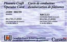 Pleasure Craft Operator Card sample