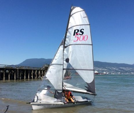 The Viking Sailing Club's RS-500 coming in to the beach at Jericho.